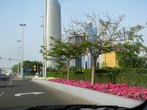阿布扎比市地平线-从corniche的美丽的景色 库存图片