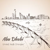 阿布扎比都市风景剪影-阿拉伯联合酋长国 免版税图库摄影