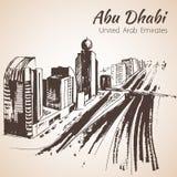 阿布扎比都市风景剪影-阿拉伯联合酋长国 库存图片