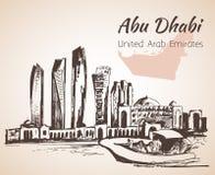 阿布扎比都市风景剪影-阿拉伯联合酋长国 库存照片