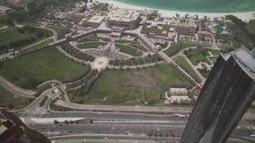阿布扎比顶视图股票英尺长度录影的总统旅馆酋长管辖区宫殿 影视素材