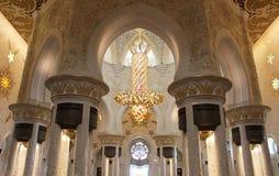 阿布扎比,阿拉伯联合酋长国回教族长扎耶德Grand Mosque - 图库摄影