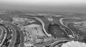 阿布扎比,阿拉伯联合酋长国- 2016年12月:法拉利世界鸟瞰图 阿布格莱布D 库存照片