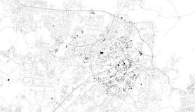 阿布贾,尼日利亚,城市街道卫星地图  闹事 库存例证