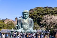 阿弥陀佛一个巨大的室外古铜色雕象的Kotoku在寺庙,镰仓,神奈川县,日本 免版税库存照片