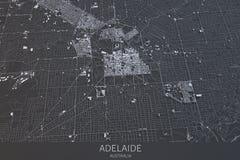 阿德莱德地图,卫星看法,城市,澳大利亚 免版税图库摄影