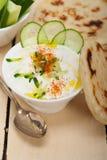 阿拉伯人中东山羊酸奶和黄瓜沙拉 免版税库存照片