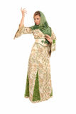 阿拉伯人查出的常设面纱妇女年轻人 免版税图库摄影