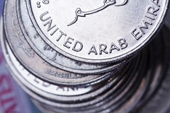 阿拉伯人硬币团结的货币酋长管辖区 图库摄影