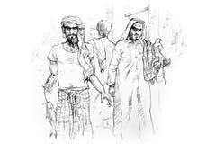 阿拉伯人被画的现有量市场老草图 免版税库存照片