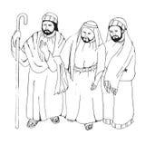 阿拉伯人 在白色背景的手拉的剪影传染媒介例证 免版税库存图片