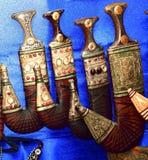 阿拉伯人Khanjar显示阿拉伯人古董匕首的 免版税库存图片