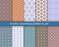 阿拉伯伊斯兰教的无缝的样式集合 eps10开花橙色模式缝制的rac ric缝的镶边修整向量墙纸黄色 库存图片
