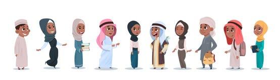 阿拉伯儿童女孩和男孩小组小动画片学生汇集穆斯林学生 向量例证