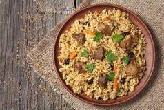阿拉伯全国米食物称肉饭烹调与 图库摄影