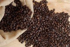 阿拉伯咖啡豆咖啡对的日起始时间 免版税图库摄影