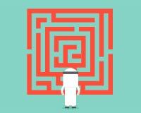 阿拉伯商人看看迷宫,被分析和解答concep 库存例证