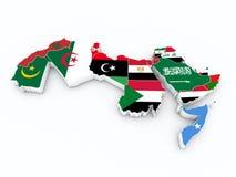阿拉伯国家联盟在3D地图的成员旗子 库存图片