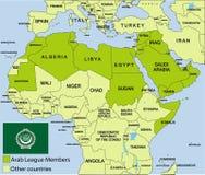 阿拉伯国家联盟映射和周围 库存照片