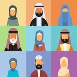阿拉伯外形具体化集合象阿拉伯商人,画象回教买卖人汇集面孔 库存照片