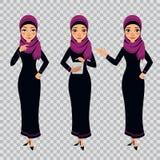 阿拉伯女商人字符用在透明背景的不同的姿势 妇女是站立和工作在片剂 向量例证