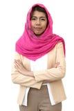 阿拉伯女实业家与裁减路线的被隔绝的背景 库存图片
