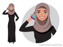 阿拉伯妇女字符在电话谈话 库存例证