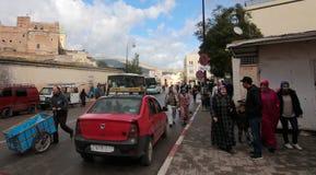 阿拉伯市菲斯在摩洛哥日常生活中 免版税图库摄影