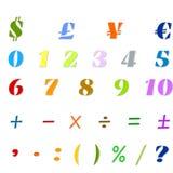 阿拉伯数字、算术运算和货币符号 免版税图库摄影