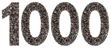 阿拉伯数字1000,一千,从黑色一块自然木炭 免版税库存图片