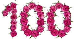 阿拉伯数字100,一百,从红色花上升了, isola 免版税库存照片