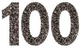 阿拉伯数字100,一百,从黑色一块自然木炭, 库存照片