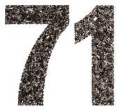 阿拉伯数字71,七十一,从黑色一块自然木炭, i 免版税库存图片