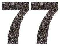 阿拉伯数字77,七十七,从黑色一块自然木炭, 图库摄影
