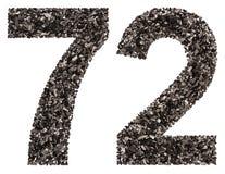 阿拉伯数字72,七十二,从黑色一块自然木炭, i 库存照片