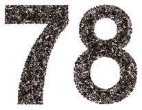 阿拉伯数字78,七十八,从黑色一块自然木炭, 库存图片