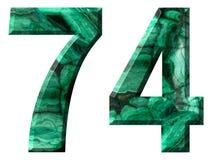 阿拉伯数字74,七十四,从自然绿色绿沸铜,隔绝在白色背景 库存图片