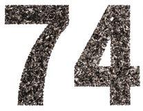 阿拉伯数字74,七十四,从黑色一块自然木炭, 库存图片
