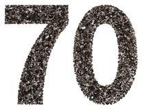 阿拉伯数字70,七十,从黑色一块自然木炭, isola 库存图片