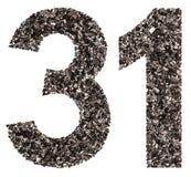 阿拉伯数字31,三十一,从黑色一块自然木炭,是 免版税库存图片