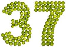 阿拉伯数字37,三十七,从绿豆,隔绝在wh 免版税库存照片