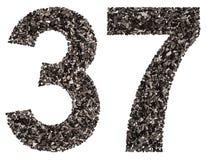 阿拉伯数字37,三十七,从黑色一块自然木炭, 免版税库存图片