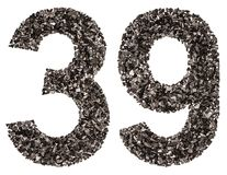 阿拉伯数字39,三十九,从黑色一块自然木炭, i 库存图片
