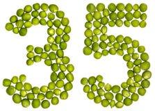 阿拉伯数字35,三十五,从绿豆,隔绝在whi 免版税图库摄影