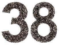 阿拉伯数字38,三十八,从黑色一块自然木炭, 免版税库存照片