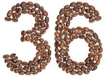 阿拉伯数字36,三十六,从咖啡豆,隔绝在wh 库存照片