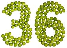 阿拉伯数字36,三十六,从绿豆,隔绝在丝毫 免版税库存照片