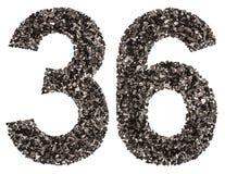 阿拉伯数字36,三十六,从黑色一块自然木炭,是 免版税库存图片