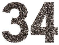 阿拉伯数字34,三十四,从黑色一块自然木炭, i 库存图片