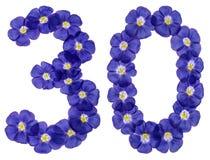 阿拉伯数字30,三十,从胡麻蓝色花,隔绝了o 库存照片